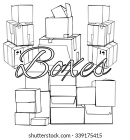 Set of compositions with hand drawn black and white piles of boxes, packed for transportation. different perspective. Vector illustration