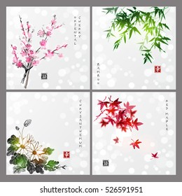Set of compositions representing four seasons on glowing background. Sakura branch, bamboo, chrysanthemum and red maple leaves. Japanese ink painting sumi-e. Contains hieroglyph - happiness, luck.
