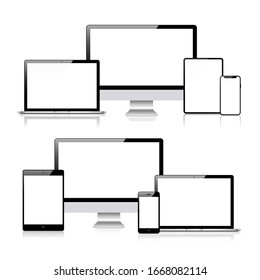 Set of compute, laptop, smartphone with empty screens.