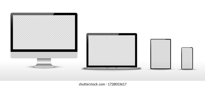 Set of compute, laptop, smartphone with empty screens. Design on transparent background. . Vector illustration