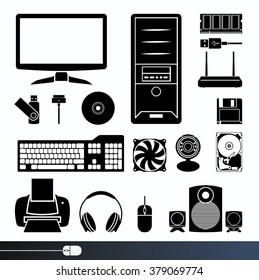 set of computer accessories,computer elements-vector illustration