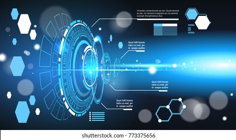 Set Of Computer Futuristic Infographic Elements Tech Abstract Background Template Banner With Copy Space Vector Illustration