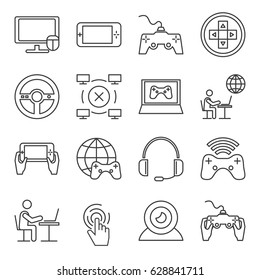 Set of computer games Related Vector Line Icons. Includes such Icons as game, computer, e-sports, headphones, game console, webcam