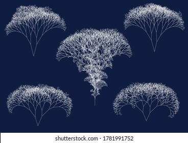 set of computer generated irregular white fractal trees on dark blue background illustrating big data flow