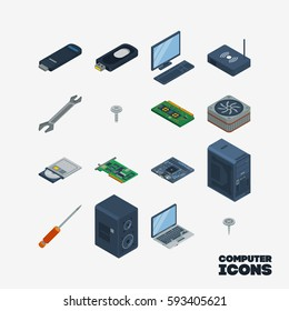 Set of computer icons. A set of 16 icons isometric.