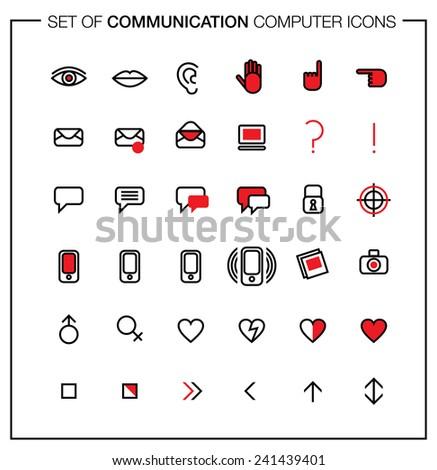 Set Computer Icons Media Communication Symbols Stock Vector Royalty