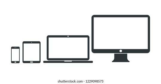 Set of computer, laptop, tablet and smartphone icons. Vector illustration.
