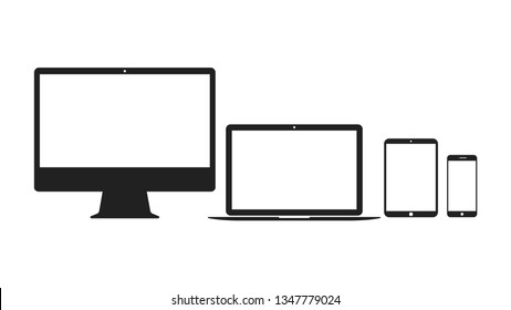 Set of computer, laptop, tablet and smartphone icons. Electronic devices icons.
