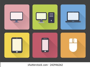 Set of Computer and Mobile Icons