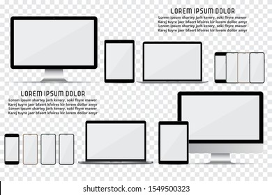 Set of computer monitor, laptop, smartphone and tablet with empty screen on a transparent background