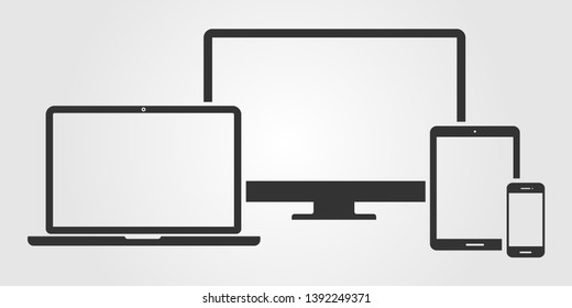 \nSet of computer monitor, laptop, tablet and mobile phone with blank screen on gray background. Flat style - stock vector.