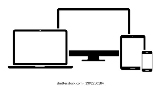 Set of computer monitor, laptop, tablet and mobile phone with blank screen on white background. Flat style - stock vector.