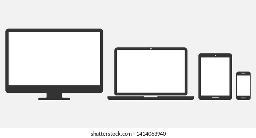 Set of computer monitor, laptop, tablet and mobile phone with blank screen on gray background with blank screens. Flat style - stock vector.