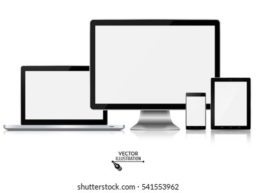 Set of computer monitor, laptop, tablet and smartphone. Vector illustration.