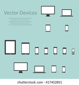 Set of computer monitors, laptops, tablets and mobile phones. Electronic gadgets, isolated background
