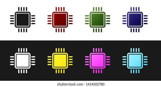 Set Computer processor with microcircuits CPU icon isolated on black and white background. Chip or cpu with circuit board sign. Micro processor. Vector Illustration