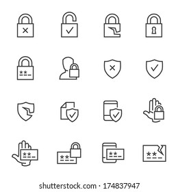 Set of computer security and password icons.