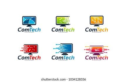 set of Computer Technology logo designs concept, Fast Computer logo designs concept vector