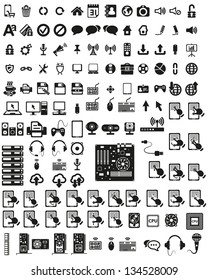 Set of computers and hardware vector icons.