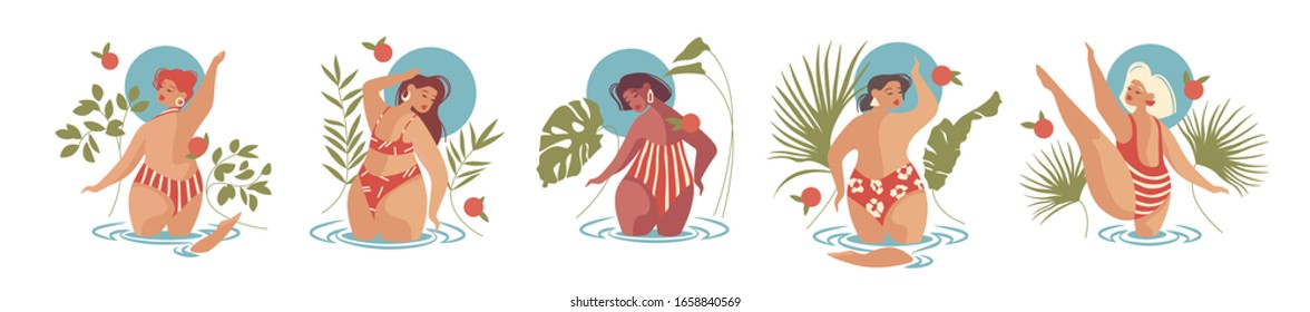 Set. Concept of body positive. Happy plus size curved girls. Healthy lifestyle. Group of women in the world. Caucasian, afro-american, asian,spaniard, italian,  swede. Flat cartoon vector illustration