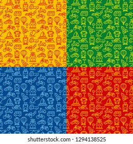 set of concept color seamless patterns of different transport, includes four patterns in a file