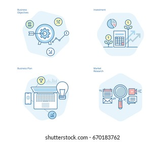 Set of concept line icons for business plan and objectives, market research, investment. UI/UX kit for web design, applications, mobile interface, infographics and print design.