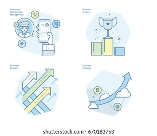 Set of concept line icons for CRM, business strategy, growth and sucess. UI/UX kit for web design, applications, mobile interface, infographics and print design.