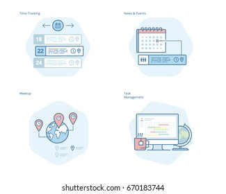 Set of concept line icons for time manager, news and events, meetup, task management, time tracking. UI/UX kit for web design, applications, mobile interface, infographics and print design.