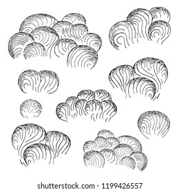 Set of concept sky, storm, thunder, rain or fog dark clouds. Ink texture background. Vector isolated hand drawn illustration.