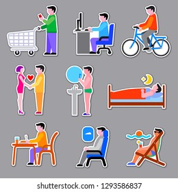 set of concept stickers of human men life