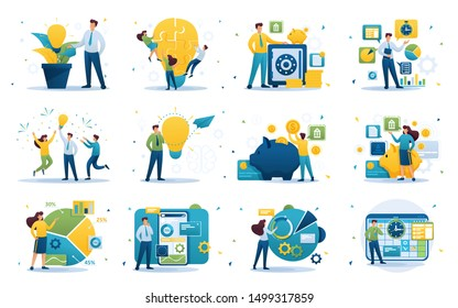 Set of concepts on the subject of business, success, investment, Deposit, business ideas, business planning. Flat 2D character