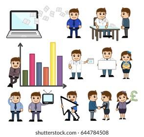 Set of Conceptual Business Cartoons