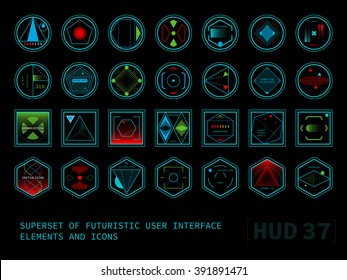 Set of conceptual futuristic display interface HUD elements. Round, square and hexagonal shaped icons.