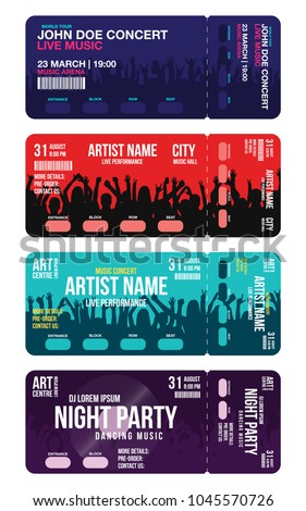 Set Of Concert Ticket Templates Party Or Festival Design Template With People