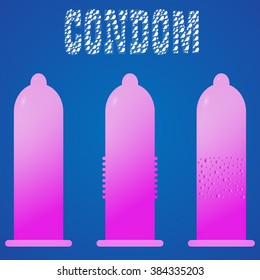 Set of condoms vector fun cute funny . Blue text, background, icon, vector illustrator. condom character . The power of condom. Protect. Safe sex concept. Text with sperm.  Pink and purple condom.
