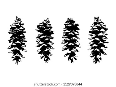 Set of cone silhouettes on white background