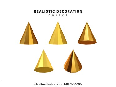 Set cones with golden color. Realistic geometric shapes. decorative design elements isolated white background. 3d objects cone-shaped gold color. vector illustration.