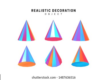 Set cones with holographic color gradient. Realistic geometric shapes. Hologram decorative design elements isolated white background. 3d objects cone-shaped blue color. vector illustration.