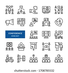 Set of Conference icons such as Meeting, Conversation, Team, Work.