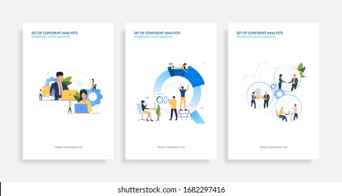 Set of confident analysts working with graphs. Flat vector illustrations of development, optimization, teamwork. Finance concept for banner, website design or landing web page