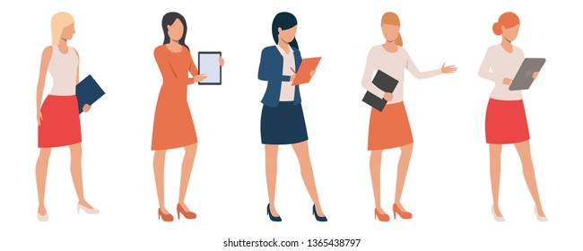 Set of confident ladies holding presentations. Flat cartoon female managers with tablets and clipboards. Vector illustration can be used for sales occupation, introduction, trade representatives