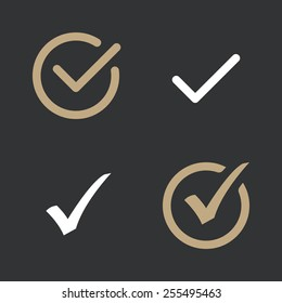 Set of confirm vector icons. Flat design style