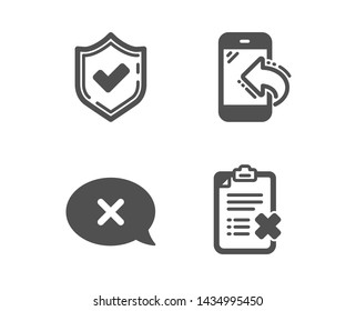 Set of Confirmed, Reject and Incoming call icons. Reject checklist sign. Accepted message, Delete message, Phone support. Decline file.  Classic design confirmed icon. Flat design. Vector