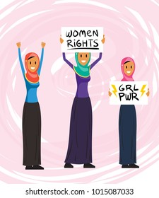 Set of Confused Angry Muslim Feminist Women Protesters in Different Poses. Fight for Woman Rights. Vector Art Characters Flat Style.