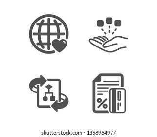 Set of Consolidation, Technical algorithm and International love icons. Credit card sign. Strategy, Project doc, Internet dating. Loan percent.  Classic design consolidation icon. Flat design. Vector