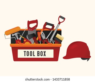 set of construction building tools in the tool box vector illustration with gradient color, , hammer, drill, screwdriver, saw, file, nail, meter, tools symbol