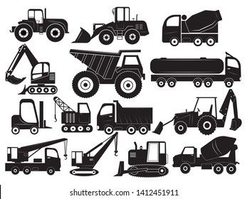 Set of construction equipment. Collection of silhouettes of working equipment and cars. Black white vector illustration for children.