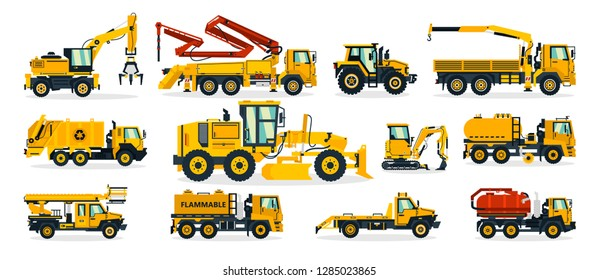 Set of construction equipment. Excavator, tractor, concrete pump, crane, garbage truck, grader, fuel truck, tow truck. Service vehicle. Vector illustration