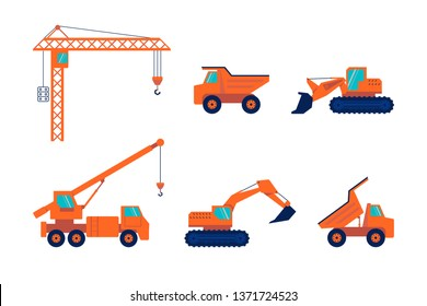 Set of Construction equipment and machinery  isolated on white background. Flat Art Vector illustration