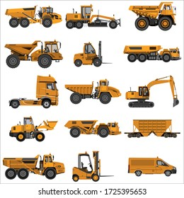 A set of construction equipment. Powerful articulated dump trucks, graders, loaders, excavators, tractors and wagons. Isolated on a white background. Mechanical engineering, heavy industry.